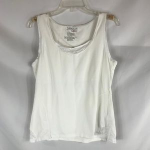 DANSKIN NOW WHITE SIZE XL ATHLETIC TANK TOP